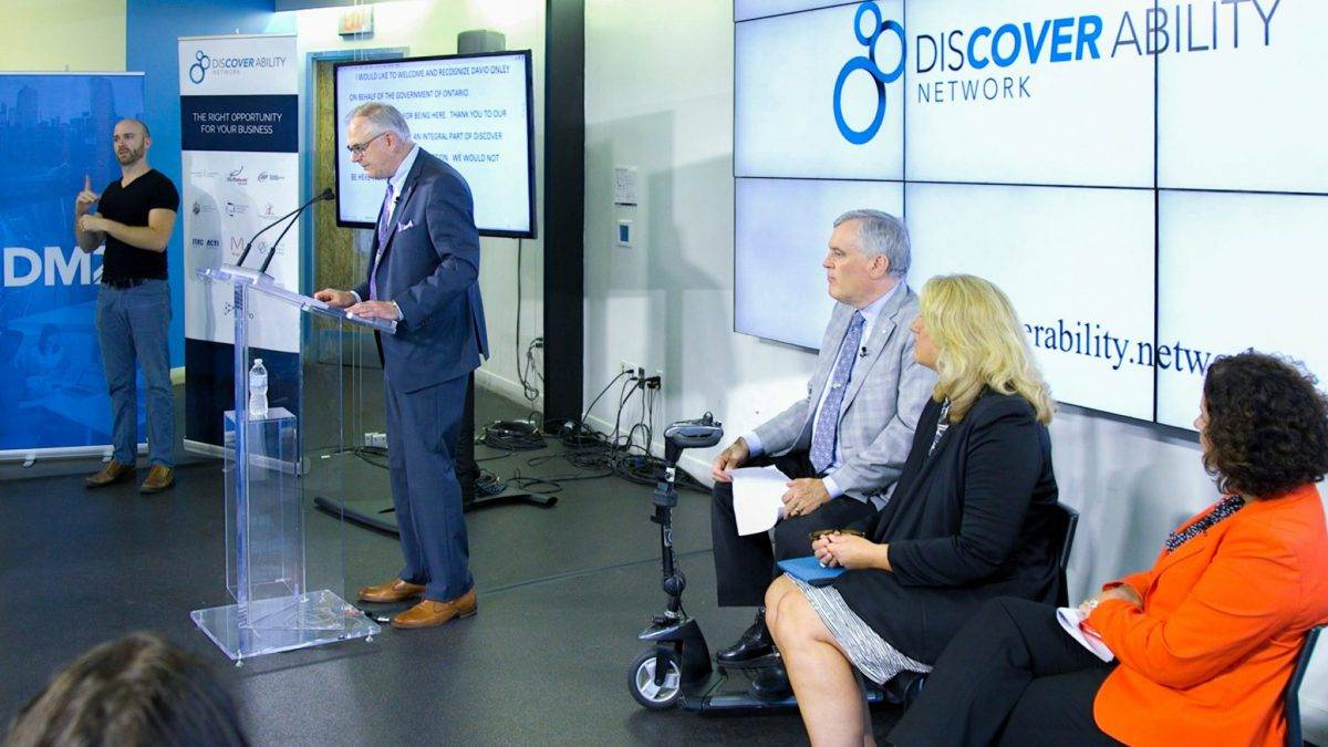 Photo of the opening remarks at the Discover Ability Network Launch event